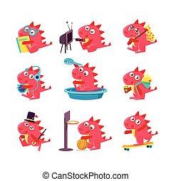 dragón, diario, empresa / negocio, rojo