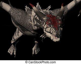 dragón, encima de cierre