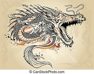 dragón, garabato, bosquejo, vector, tatuaje