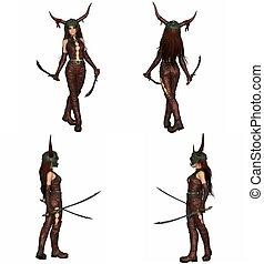 dragón, guerrero, niña, carácter, conjunto