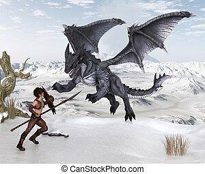dragón, guerrero, niño, lucha, un, dragón, en, el, nieve