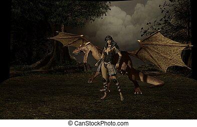 dragón, jinete