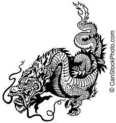 dragón, negro, blanco