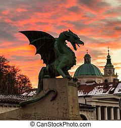 dragón, puente, ljubljana, eslovenia, europe.