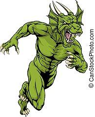 dragón, sprinting, mascota