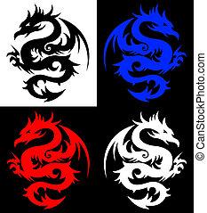 dragón, tatuaje, tribal