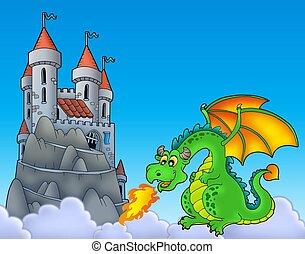 dragón verde, con, castillo, en, colina