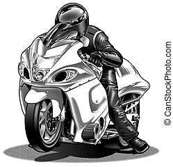 Drag Bike #2 - Black Line & Airbrush Illustration