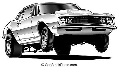 Drag Car Wheelie -  Black Line and Airbrush Illustration