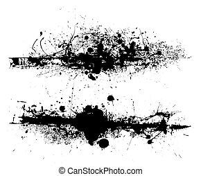 Black ink splat design with roller drag marks and splatter