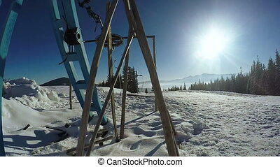 Drag lift without people - Standing ski lift and panning