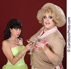 Drag Queen And Woman With Martini
