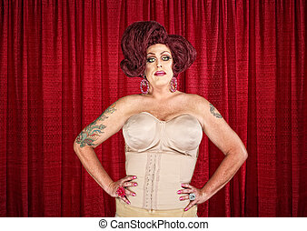 Drag Queen in Corset - Drag queen in corset with hands on...