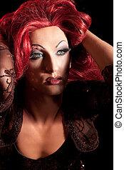 drag-queen., mann, angezogene , als, woman.