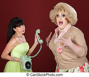 Drag Queen With Friend on Phone