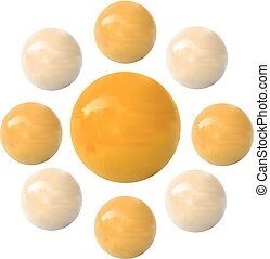 Dragee, VECTOR. Yellow, isolated on white
