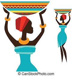 dragen, basket., silhouette, meisje, afrikaan