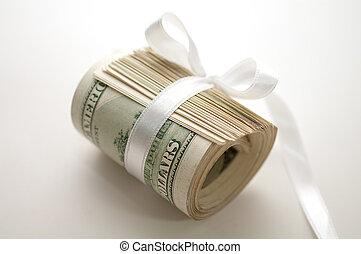 draget åt, dollar, rulle, band