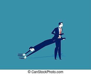 Dragging a Partner. Concept business vector illustration.
