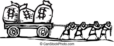 Woodcut style expressionist image of people dragging bags of money on a wagon.