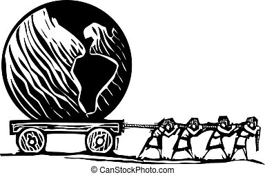 Woodcut style expressionist image of people hauling a Globe on a wagon.