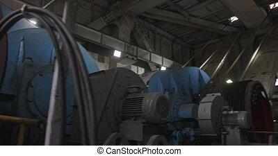 Dragline excavator cabine inside. Work walking excavator in...