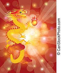 drago cinese, bokeh, fondo, anno, nuovo