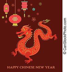 drago cinese, fondo, anno, nuovo, rosso