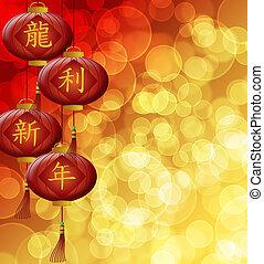 drago cinese, lanterne, fondo, anno, nuovo, sfocato