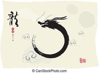 drago, dipinto inchiostro, chinese's, anno