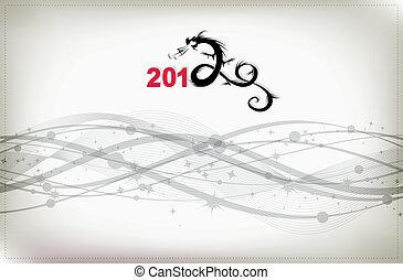 drago, disegno, fondo, anno, celebrazione, tuo, 2012