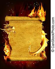 drago, fuoco, e, rotolo, di, vecchio, pergamena