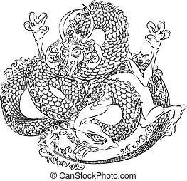 drago, giapponese, illustrazione
