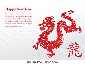drago, nuovo, cinese, anno