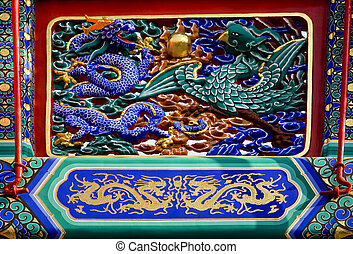 drago, phoenix, dettagli, cancello, yonghegong, beijing, porcellana