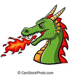 drago, soffiando, fuoco, cartone animato, testa