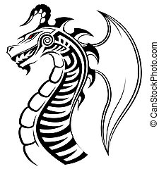 drago, tatuaggio, tribale