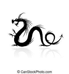 drago, tatuaggio, vettore, illustrazione, per, tuo, disegno
