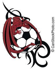drago, tshirt, calcio, tatto, medievale