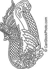 dragon., ベクトル, アジア人, イラスト