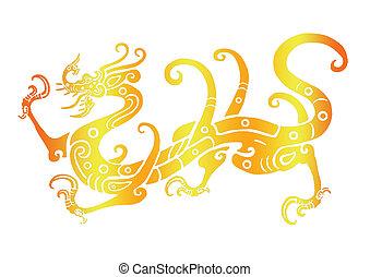 dragon 12 - dragon in golden ground chinese background