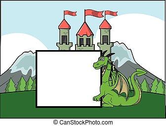Dragon and castle  illustration