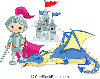 Dragon and Knight - Brave knight and defeated dragon