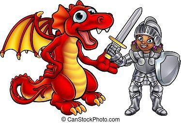 Dragon and Knight Cartoon Characters