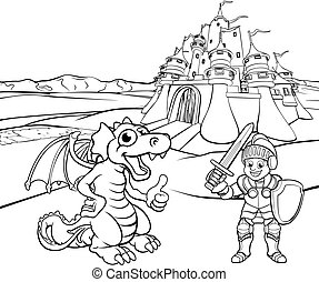 Dragon and Knight Castle Cartoon