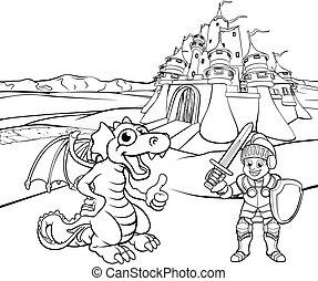 Dragon and Knight Castle Cartoon