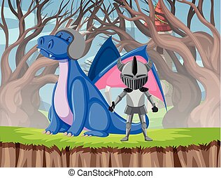 Dragon and knight scene