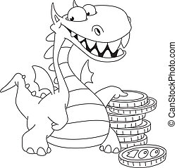 dragon and money outlined - illustration of a dragon and...
