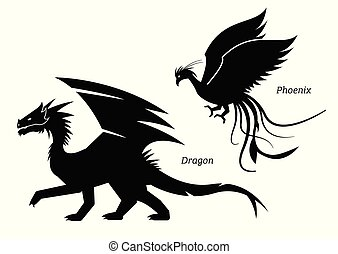 Dragon and phoenix side view pictogram.