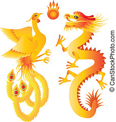 Dragon and Phoenix Symbols Illustration